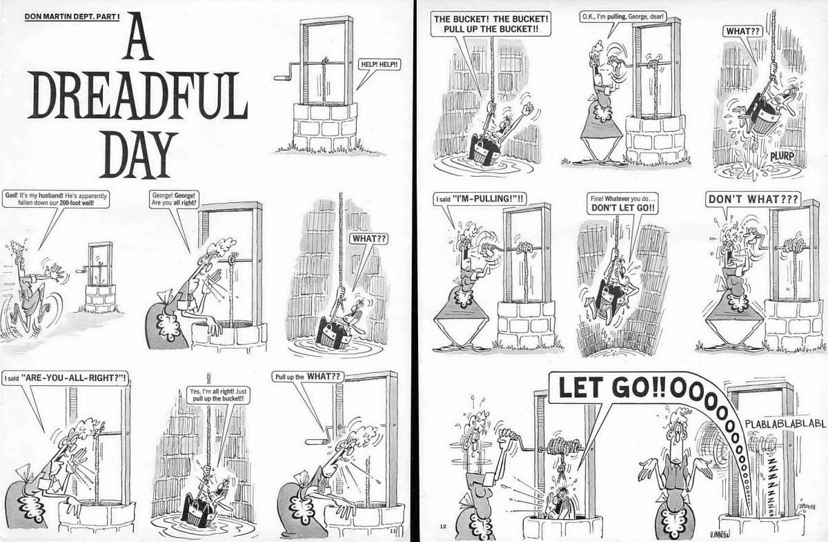 Don Martin A Dreadful Day (Mad no.98), 1965 Ink on paper 62 x 43.5 cm each sheet Signed