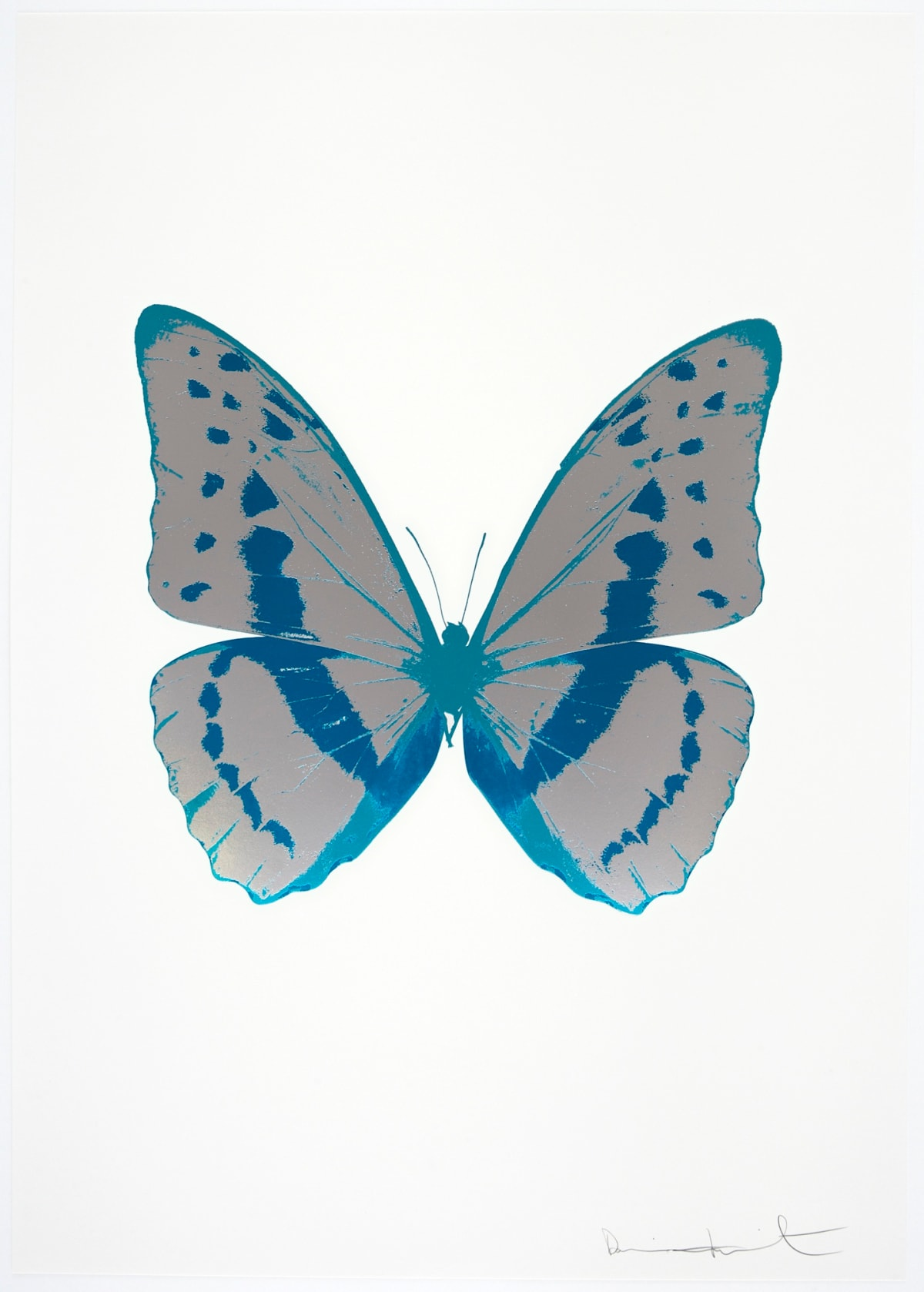 Damien Hirst The Souls III - Silver Gloss/Turquoise/Topaz, 2010 3 colour foil block on 300gsm Arches 88 archival paper. Signed and numbered. Published by Paul Stolper and Other Criteria 72 x 51cm OC7958 / 660-61 Edition of 15