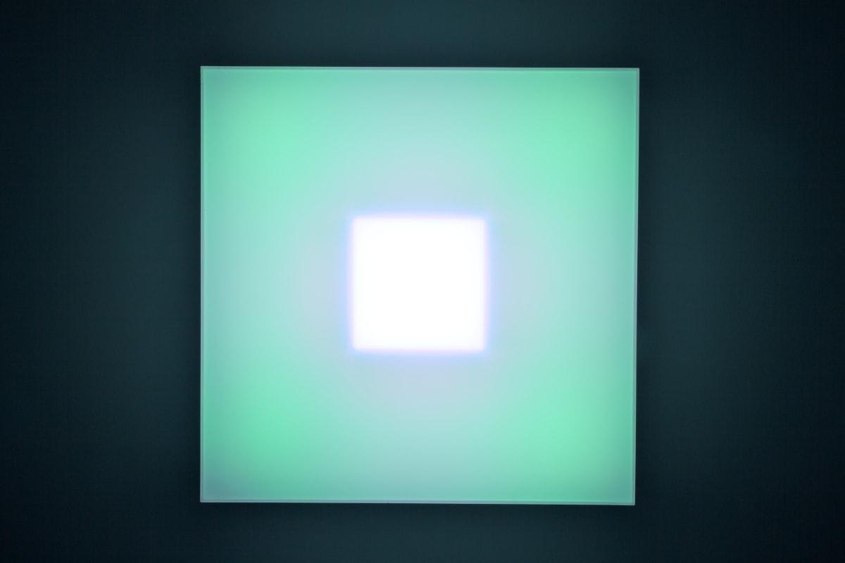 Brian Eno Un Still, 2016 Light box: LED lights, perspex, wood, usb stick. Exhibited:Light Music 29.04-28.05.2016 Paul Stolper Gallery, London 65 x 65 x 19 cm
