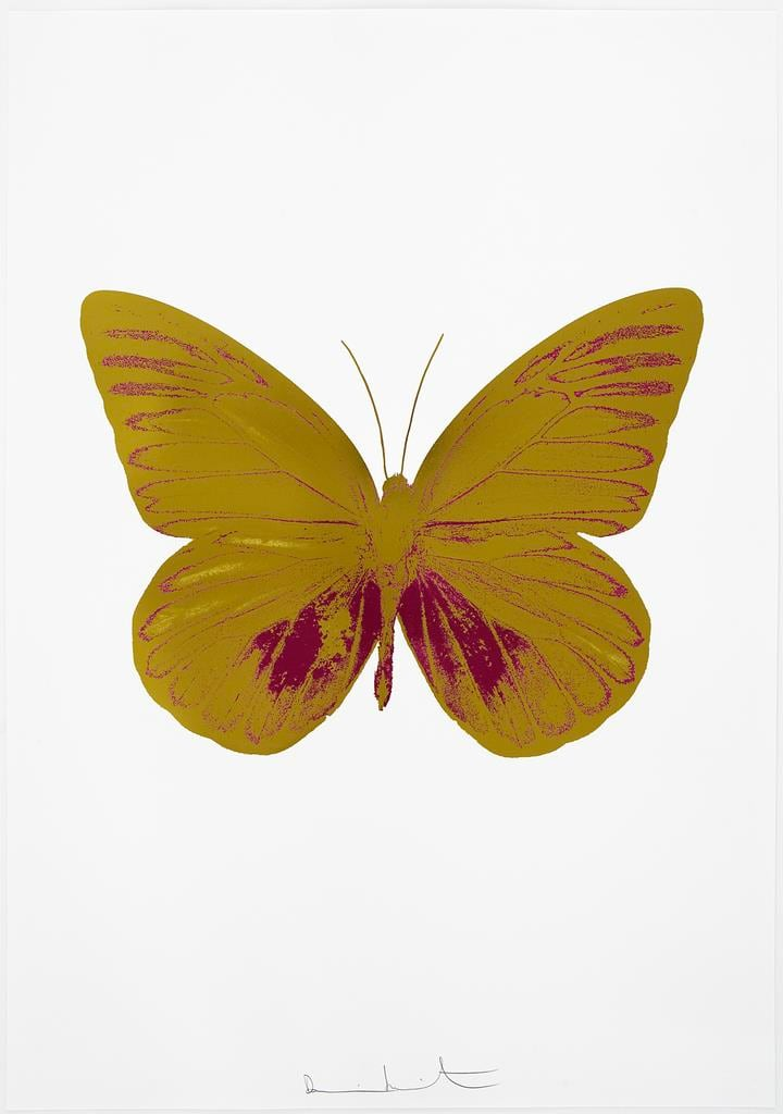 Damien Hirst The Souls I - Oriental Gold/Fuchsia Pink, 2010 2 colour foil block on 300gsm Arches 88 archival paper. Signed and numbered. Published by Paul Stolper and Other Criteria 72 x 51cm OC7774 / 659-37 Edition of 15