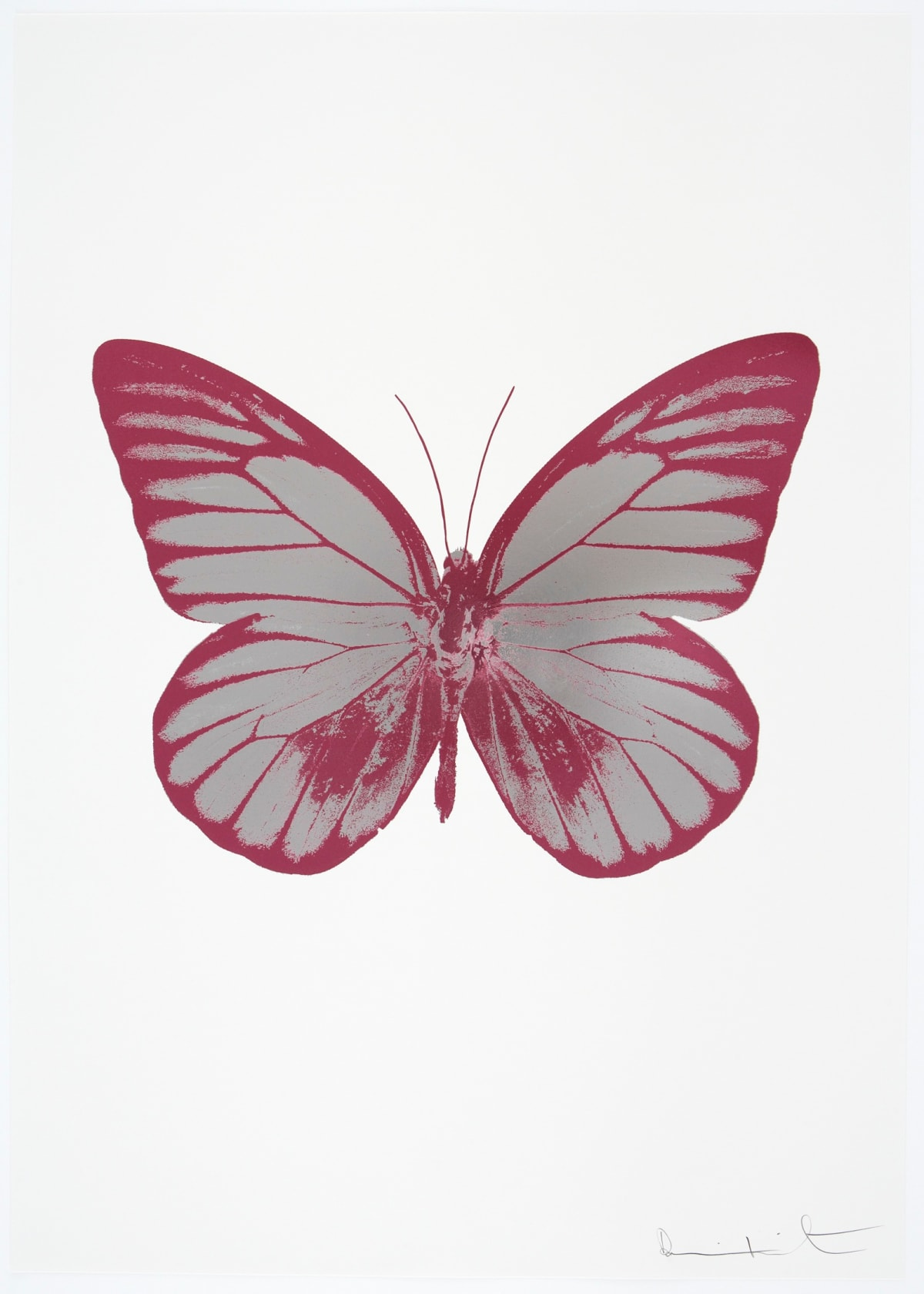 Damien Hirst The Souls I - Silver Gloss/Loganberry Pink/Loganberry Pink, 2010 2 colour foil block on 300gsm Arches 88 archival paper. Signed and numbered. Published by Paul Stolper and Other Criteria 72 x 51cm OC7744 / 659-7 Edition of 15