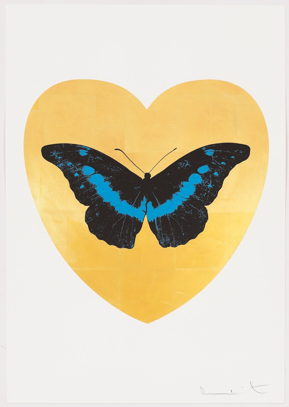 Damien Hirst I Love You - gold leaf, black, turquoise, 2015 Gold leaf and 2 colour foil block on Somerset Satin 410gsm. OC10330 100 x 70 cm Edition of 14 Signed and numbered