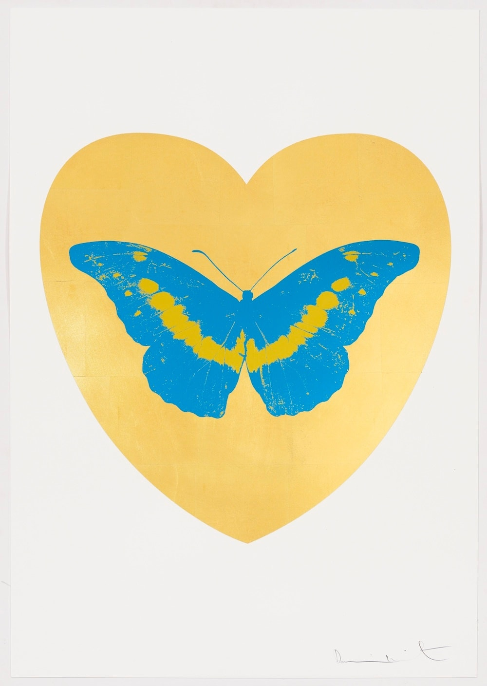 Damien Hirst I Love You - gold leaf, turquoise, oriental gold, 2015 Gold leaf and 2 colour foil block on Somerset Satin 410gsm. OC10328 100 x 70 cm Edition of 14 Signed and numbered
