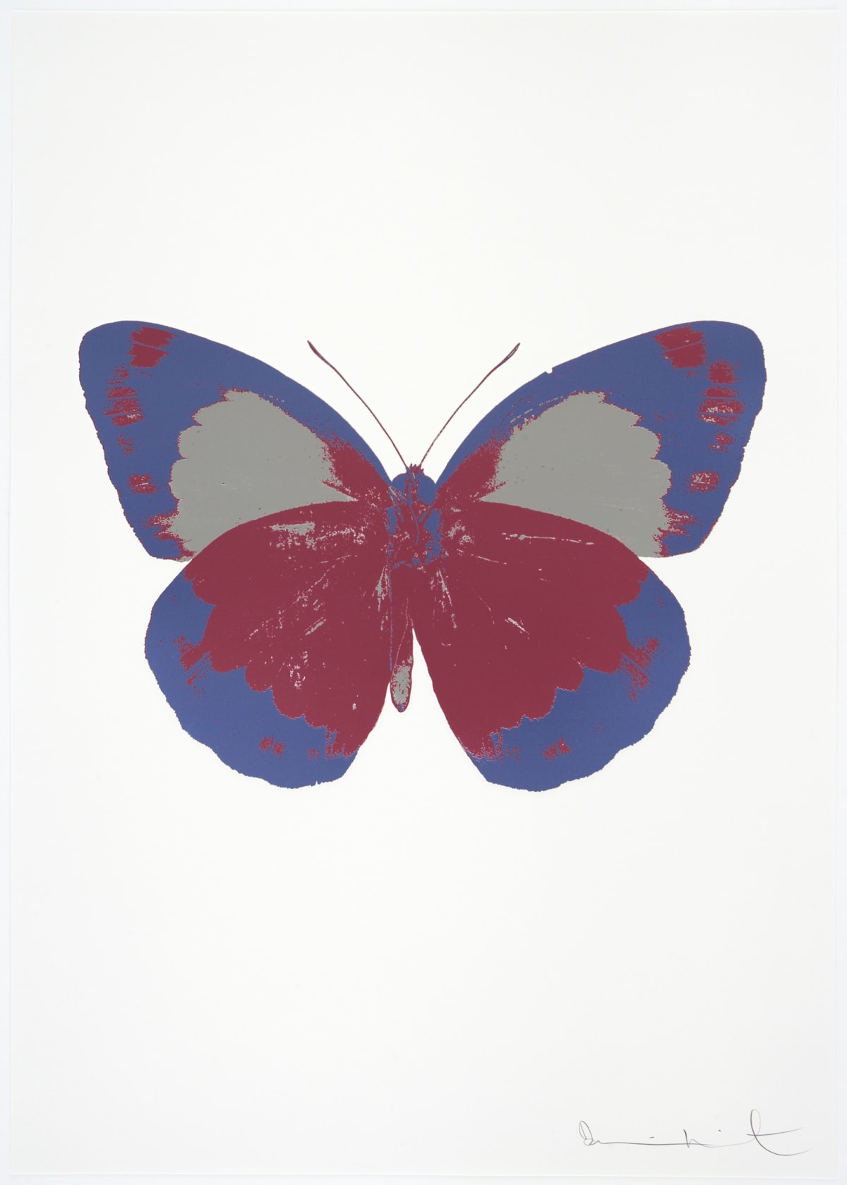 Damien Hirst The Souls II - Loganberry Pink/Cornflower Blue/Silver Gloss, 2010 3 colour foil block on 300gsm Arches 88 archival paper. Signed and numbered. Published by Paul Stolper and Other Criteria 72 x 51cm OC7858 / 658-41 Edition of 15