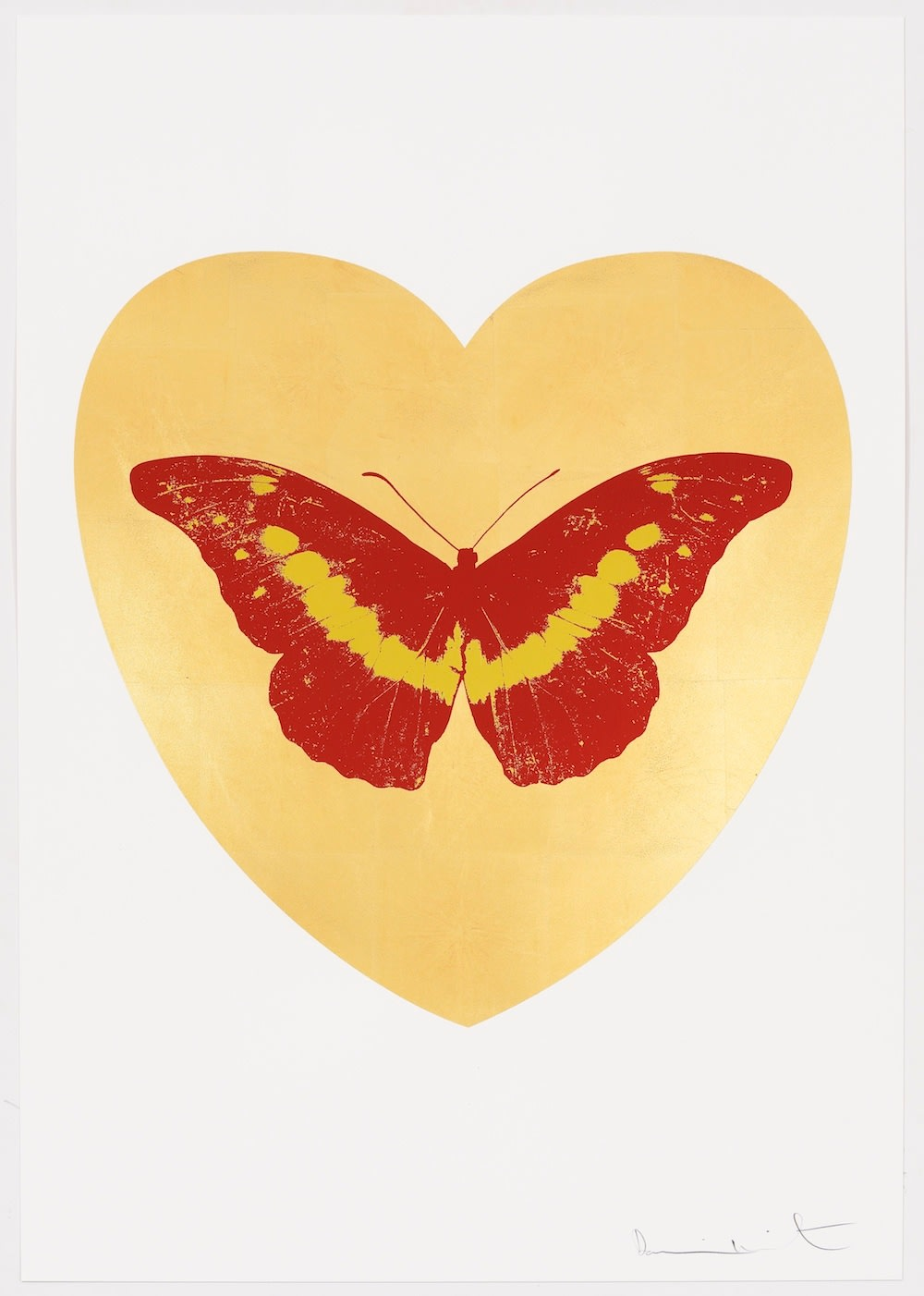 Damien Hirst I Love You - gold leaf, poppy red, oriental gold, 2015 Gold leaf and 2 colour foil block on Somerset Satin 410gsm. OC10327 100 x 70 cm. Edition of 14 Signed and numbered