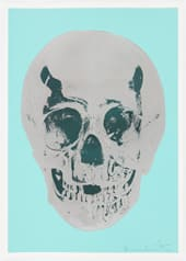 Damien Hirst Heavenly Peppermint Green Silver Gloss Racing Green Skull, 2012 Silkscreen,glaze and foilblock on 410gsm Somerset Satin. Signed an numbered. Published by Paul Stolper and Other Criteria. Framed. OC9409 Image size: 50.2 x 35 cm / Sheet size: 52.2. x 37 cm Image size 19.8 x 13.8 in Sheet ed.Display Copy