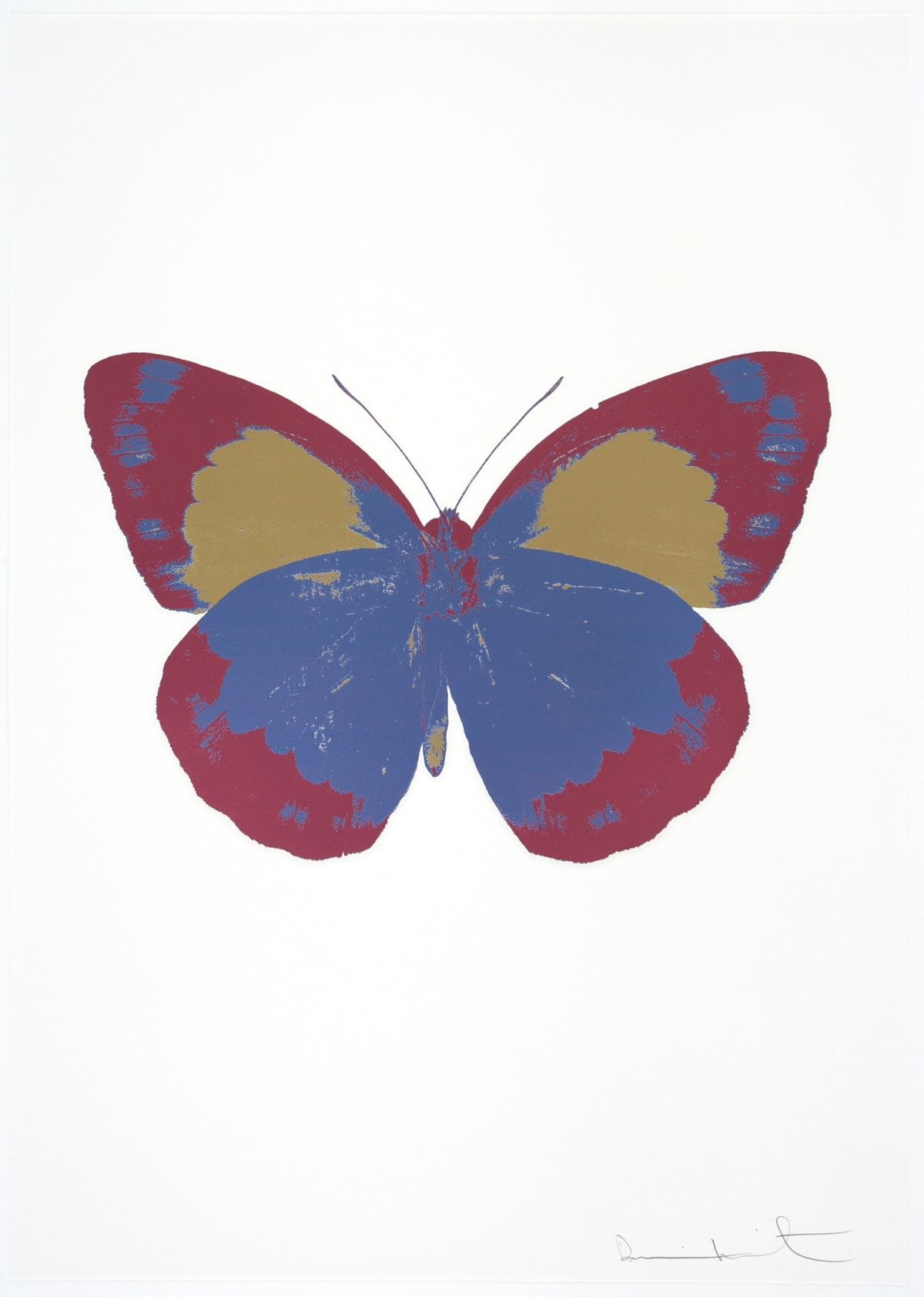 Damien Hirst The Souls II - Cornflower Blue/Loganberry Pink/Cool Gold, 2010 3 colour foil block on 300gsm Arches 88 archival paper. Signed and numbered. Published by Paul Stolper and Other Criteria 72 x 51cm OC7867 / 658-50 Edition of 15