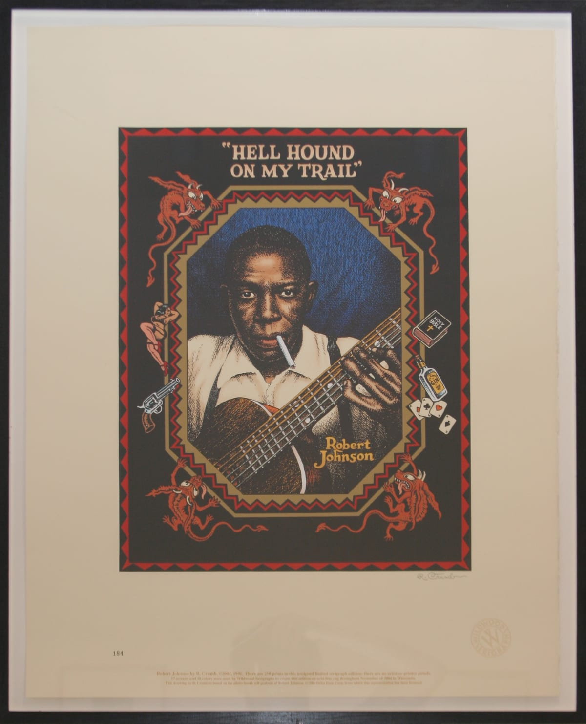 Robert Crumb Robert Johnson, 1996 Serigraph Signed and numbered FRAMED 73.8 x 56 cm 29.1 x 22 in ed.184/250