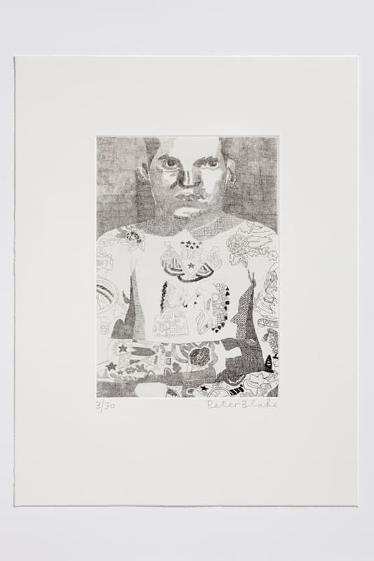 Peter Blake Elvis Two Rivers, 2014 Etching on Somerset white 300gsm. Signed and numbered. 43 x 33 cm Edition of 30