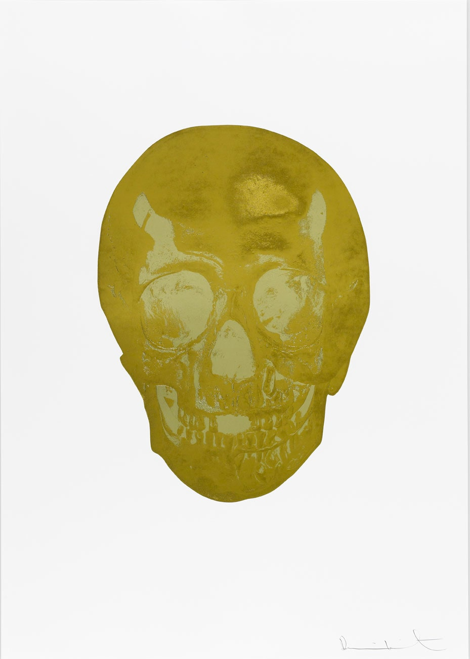 Damien Hirst Death Or Glory Oriental Gold/Cool Gold Glorious Skull, 2011 2 colour foil block on 300gsm Arches 88 archival paper. Signed and numbered. Published by Paul Stolper and Other Criteria. White aluminium powder coated frame. 72 x 51 cm; Framed 76.8 x 55.8 cm OC8366 Edition of 2