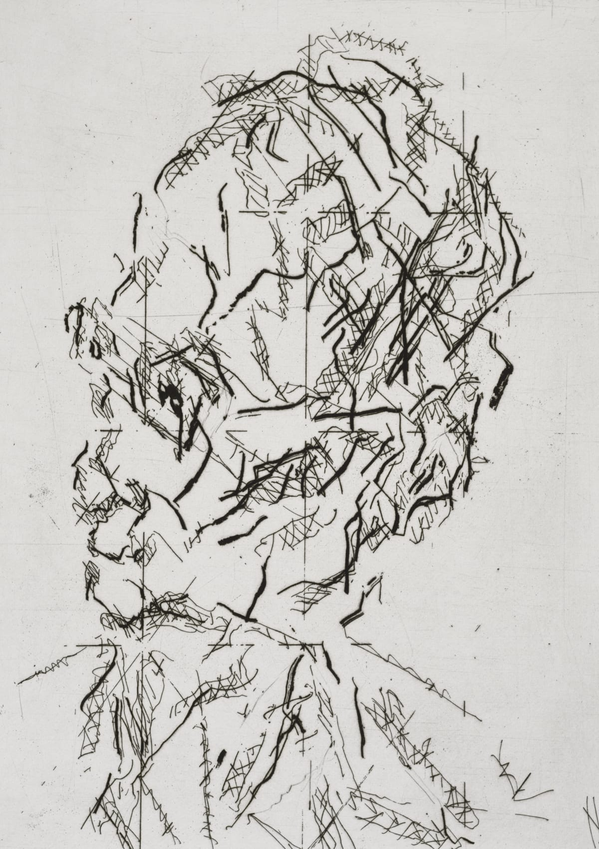 Frank Auerbach William Feaver, 2007 Etching and aquatint with engraving Sheet size: 63 x 50 cm / 24.8 x 19.7 in Framed size: 72.5 x 60 cm / 28.5 x 23.5 in 25/50 Signed, numbered and titled