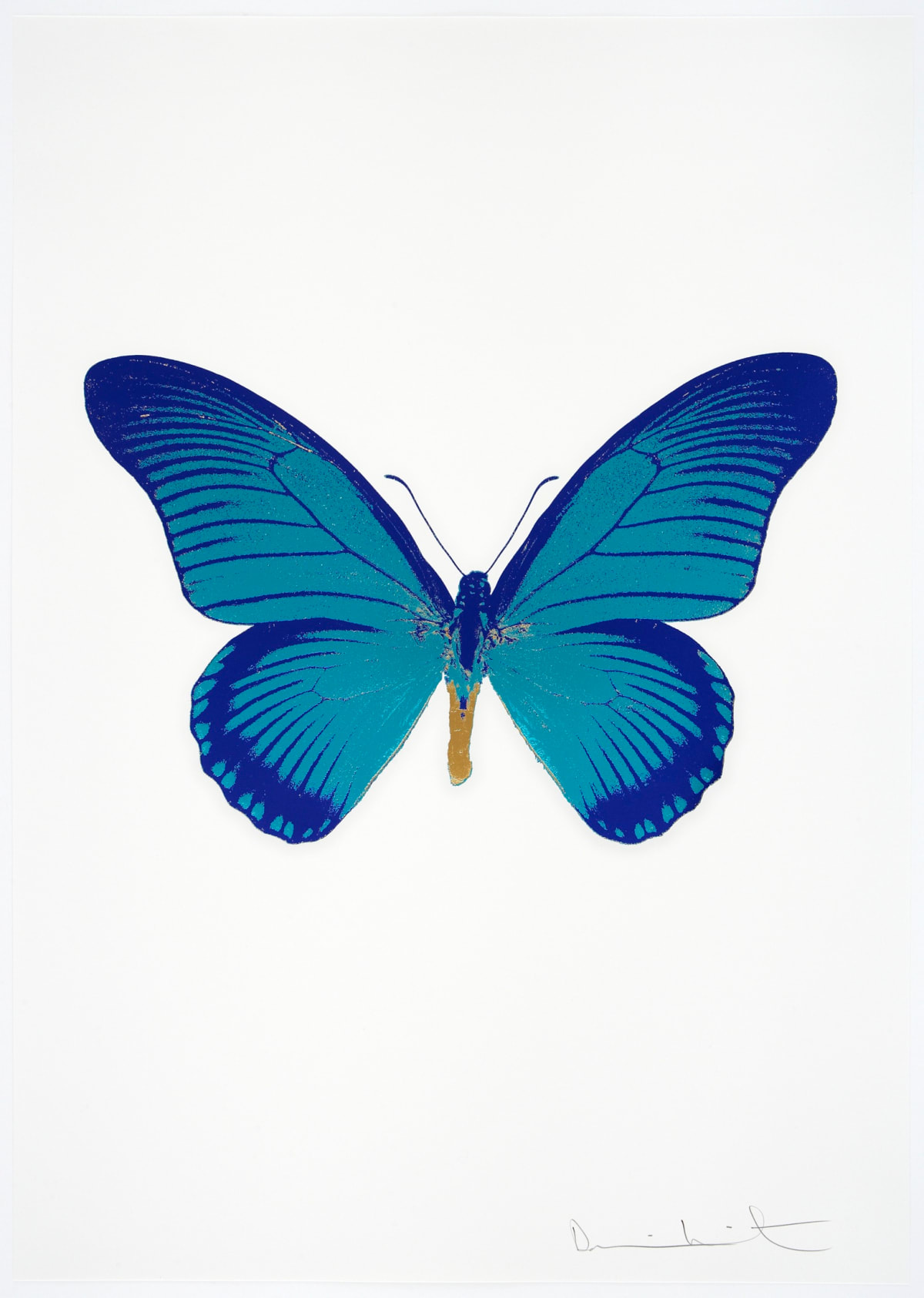 Damien Hirst The Souls IV - Topaz/Westminster Blue/African Gold Damien Hirst butterfly foil print for sale Damien Hirst print for sale , 2010 3 colour foil block on 300gsm Arches 88 archival paper. Signed and numbered. Published by Paul Stolper and Other Criteria 72 x 51cm OC8046 / 1418-69 Edition of 15