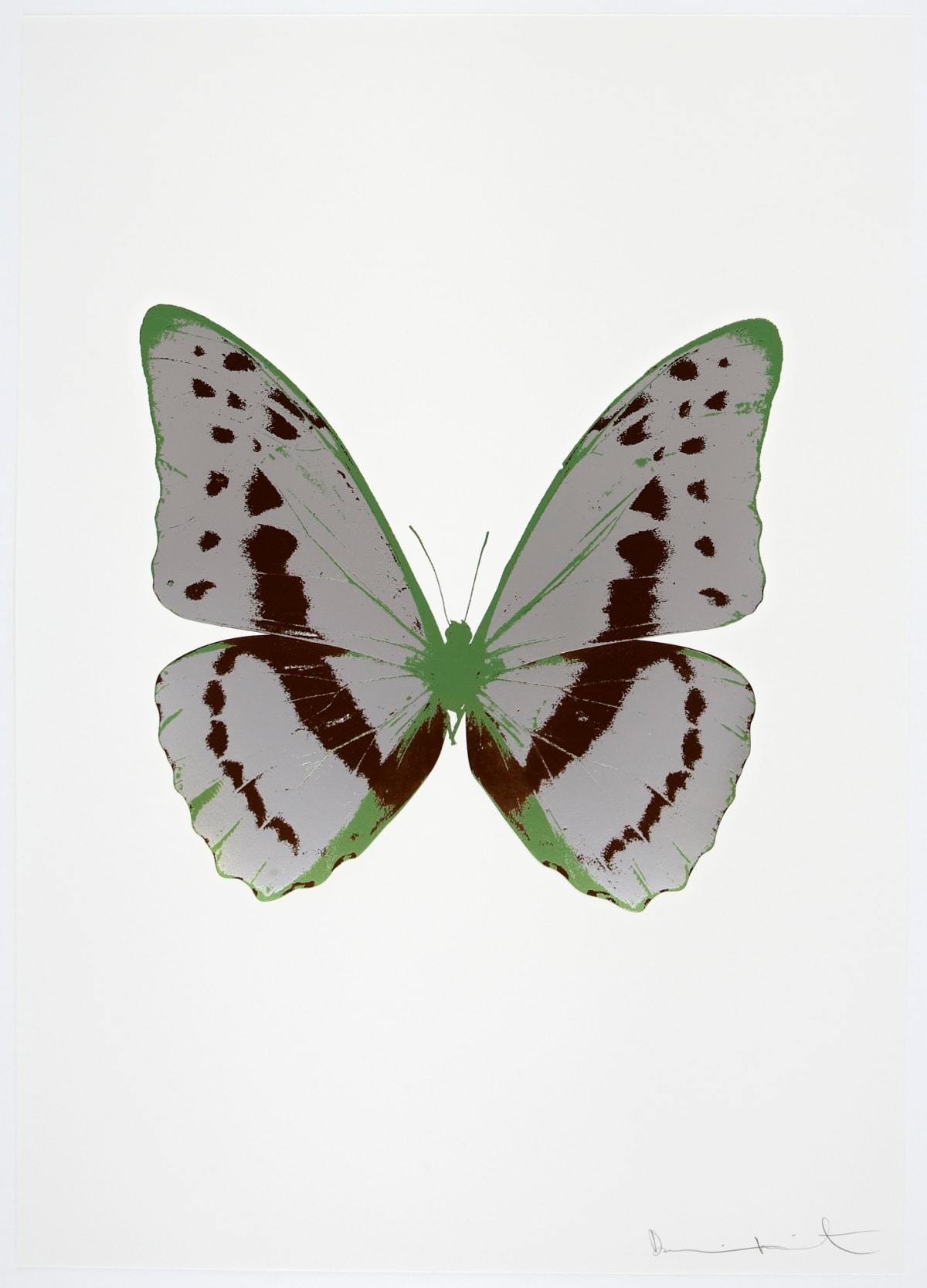 Damien Hirst The Souls III - Sliver Gloss/Chocolate/Leaf Green Damien Hirst butterfly foil print for sale Damien Hirst print for sale , 2010 3 colour foil block on 300gsm Arches 88 archival paper. Signed and numbered. Published by Paul Stolper and Other Criteria 72 x 51cm OC7948 / 660-51 Edition of 15
