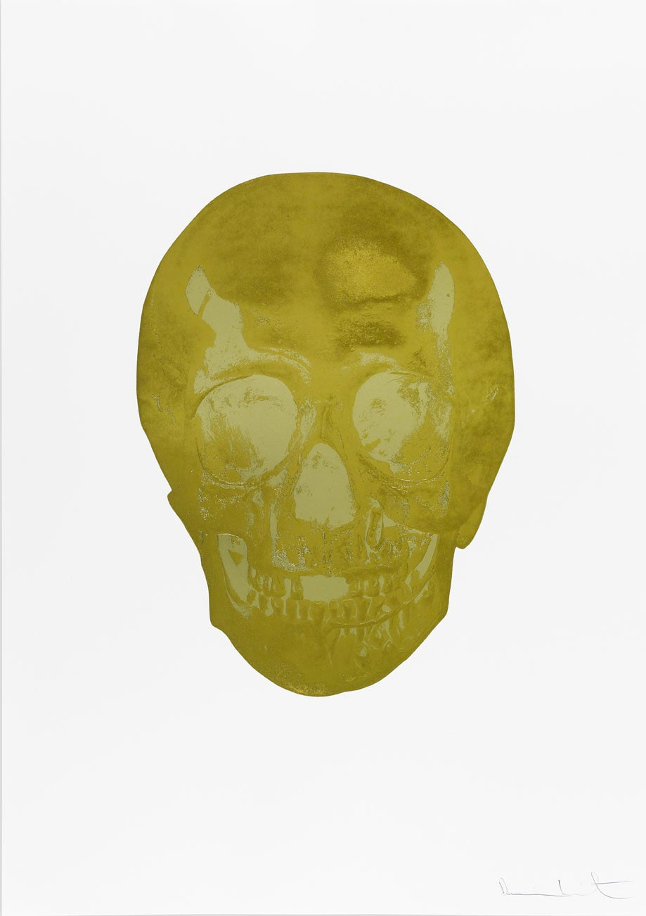 Damien Hirst Death Or Glory Champagne Gold/Cool Gold Glorious Skull, 2011 2 colour foil block on 300gsm Arches 88 archival paper. Signed and numbered. Published by Paul Stolper and Other Criteria. White aluminium powder coated frame. 72 x 51 cm; Framed 76.8 x 55.8 cm OC8379 Edition of 2