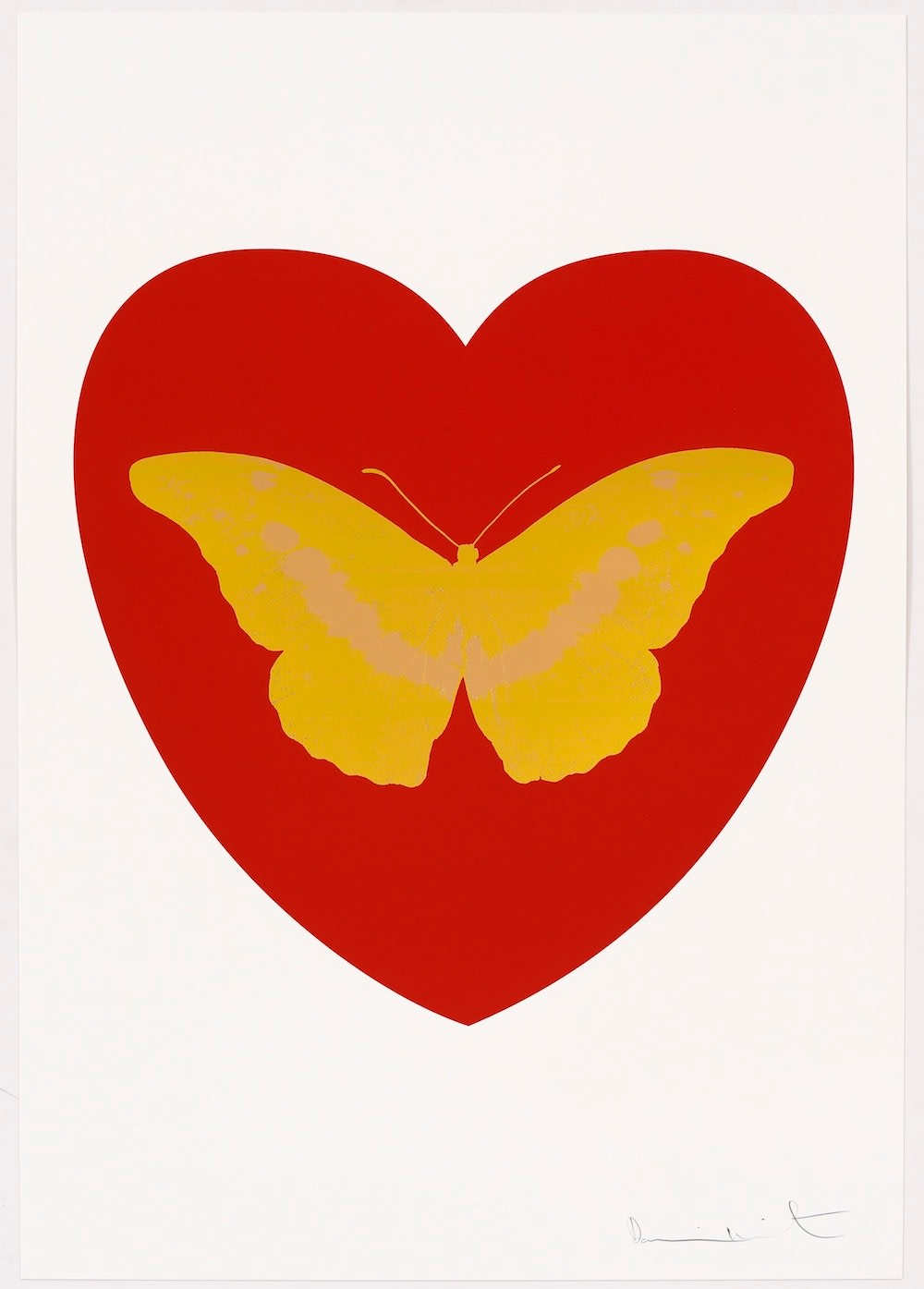 Damien Hirst I Love You - red, oriental gold, cool gold, 2015 Silkscreen and 2 colour foil block on Somerset Satin 410gsm. OC10324 100 x 70 cm Edition of 14 Signed and numbered