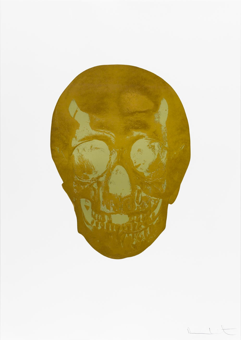 Damien Hirst Death Or Glory European Gold/Cool Gold Glorious Skull, 2011 2 colour foil block on 300gsm Arches 88 archival paper. Signed and numbered. Published by Paul Stolper and Other Criteria. White aluminium powder coated frame. 72 x 51 cm; Framed 76.8 x 55.8 cm OC8375 Edition of 2