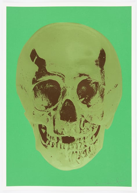 Damien Hirst Viridian Leaf Green Chocolate Skull, 2012 Silkscreen,glaze and foilblock on 410gsm Somerset Satin. Signed and numbered. Published by Paul Stolper and Other Criteria. OC9408 52.2. x 37 cm Edition of 50