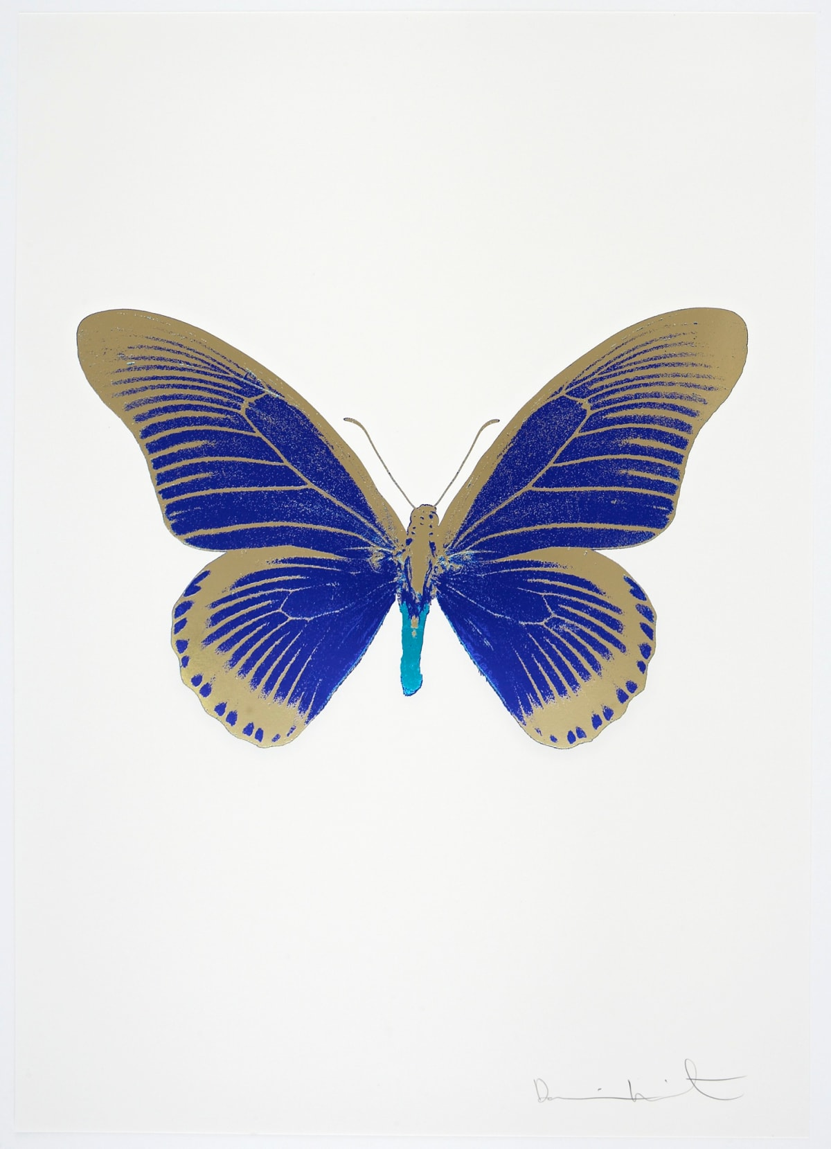 Damien Hirst The Souls IV - Westminster Blue/Cool Gold/Topaz Damien Hirst butterfly foil print for sale Damien Hirst print for sale , 2010 3 colour foil block on 300gsm Arches 88 archival paper. Signed and numbered. Published by Paul Stolper and Other Criteria 72 x 51cm OC7987 / 1418-10 Edition of 15