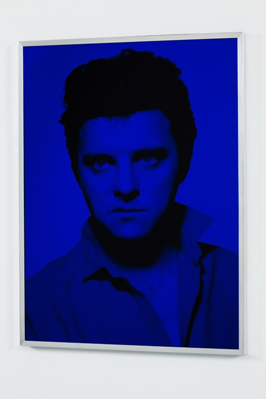 Gavin Turk Blue Elvis, 2009 Screenprint on glass, vinyl screen ink and cellulose mirror ink on glass in aluminium frame 60 x 45 cm 23.6 x 17.7 in Edition of 10