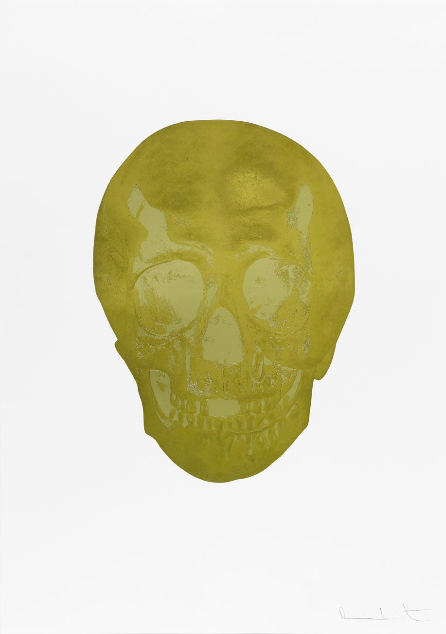 Damien Hirst Death Or Glory Sunset Gold/Cool Gold Glorious Skull, 2011 2 colour foil block on 300gsm Arches 88 archival paper. Signed and numbered. Published by Paul Stolper and Other Criteria. White aluminium powder coated frame. 72 x 51 cm; Framed 76.8 x 55.8 cm OC8370 Edition of 2