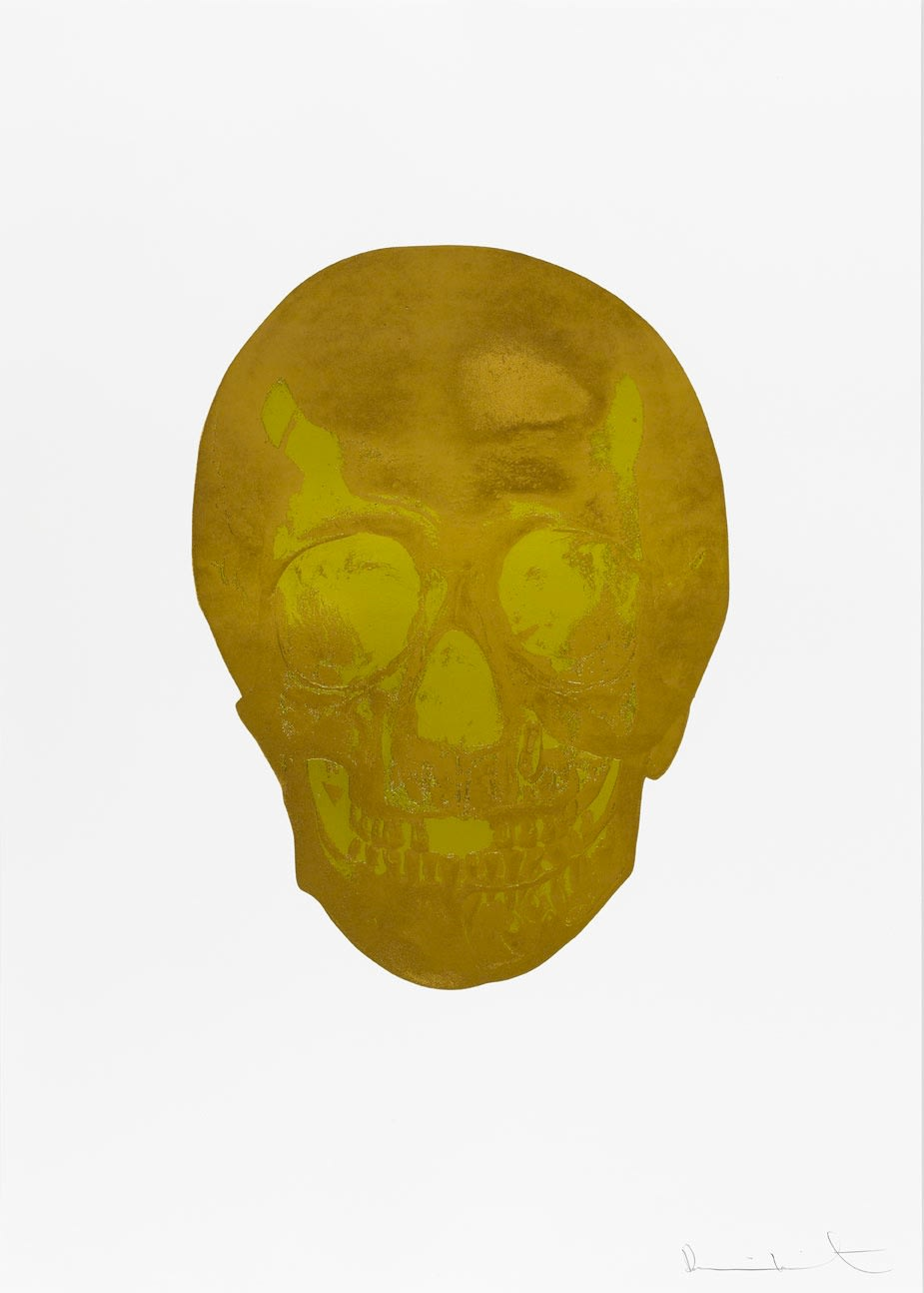 Damien Hirst Death Or Glory European Gold/Oriental Gold Glorious Skull, 2011 2 colour foil block on 300gsm Arches 88 archival paper. Signed and numbered. Published by Paul Stolper and Other Criteria. White aluminium powder coated frame. 72 x 51 cm; Framed 76.8 x 55.8 cm OC8374 Edition of 2