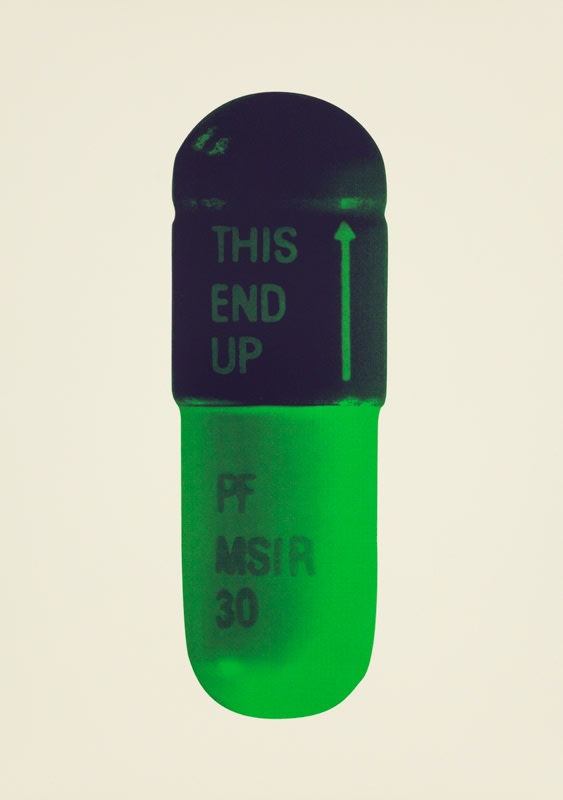 Damien Hirst The Cure - Cream/Aubergine/Pea Green, 2014 Silkscreen on Somerset Tub Sized 410gsm. Signed and numbered. Published by Paul Stolper and Other Criteria. 72 x 51 cm OC10204 / DHP18596 Edition of 15