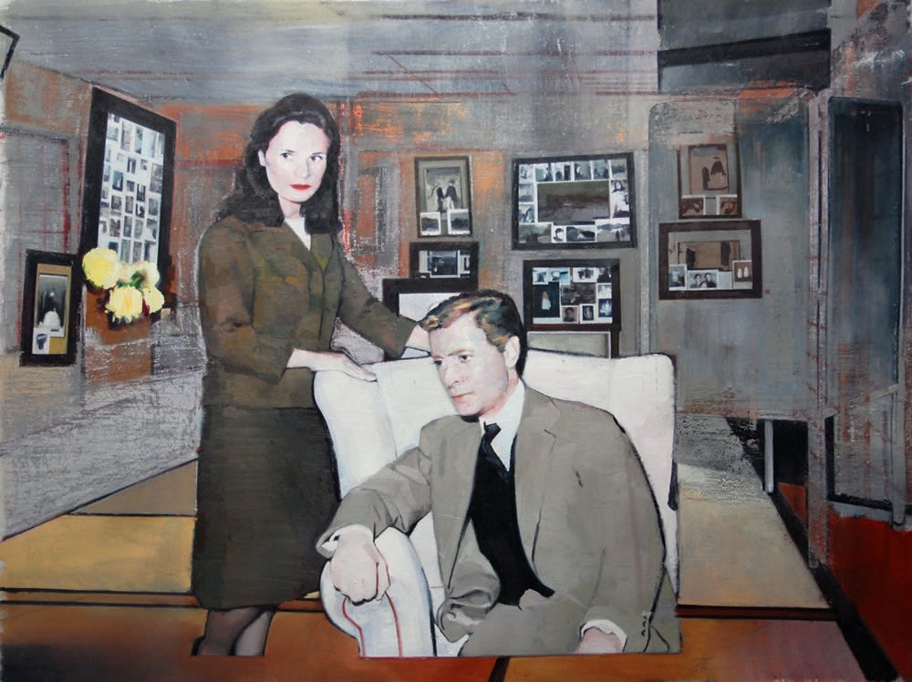 Andrew Hollis Interior with Couple and Photographs, 2010 Oil on linen. Signed and dated by the artist en verso. 90 x 120 cm 35.4 x 47.2 in
