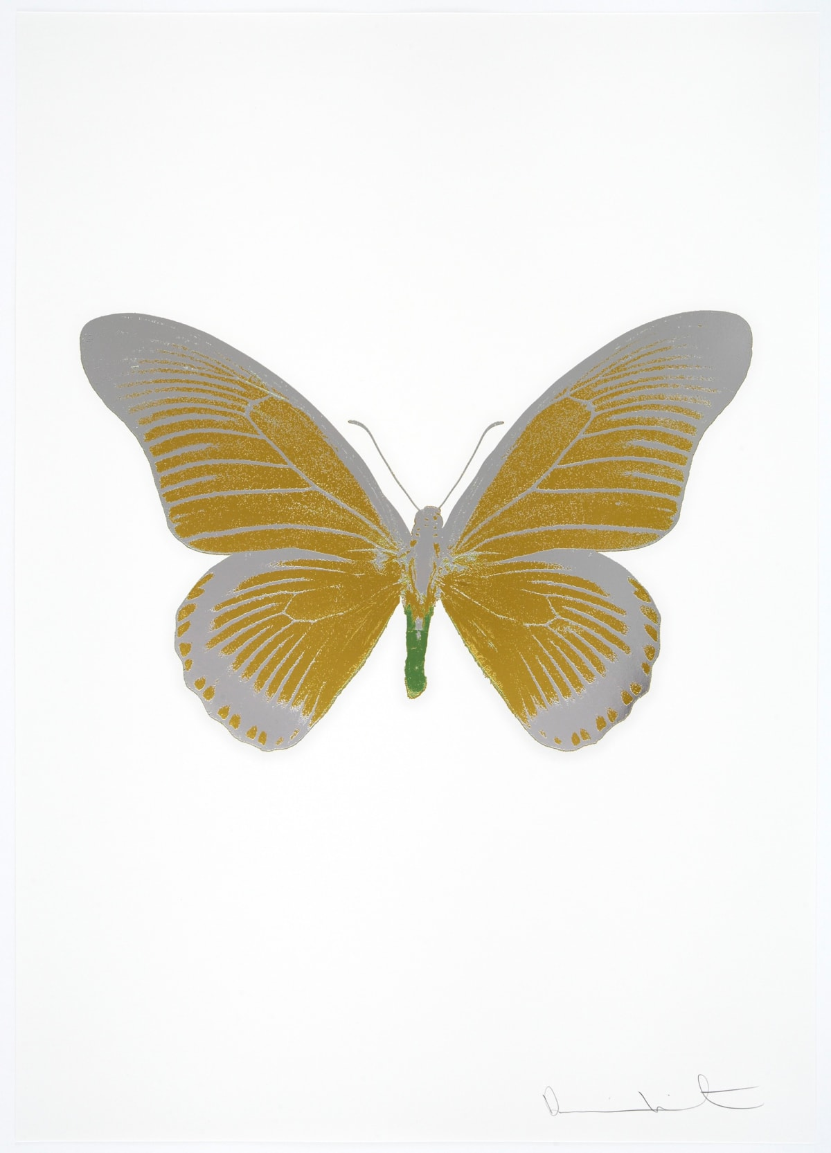 Damien Hirst The Souls IV - Oriental Gold/Silver Gloss/Leaf Green Damien Hirst butterfly foil print for sale Damien Hirst print for sale , 2010 3 colour foil block on 300gsm Arches 88 archival paper. Signed and numbered. Published by Paul Stolper and Other Criteria 72 x 51cm OC8034 / 1418-57 Edition of 15
