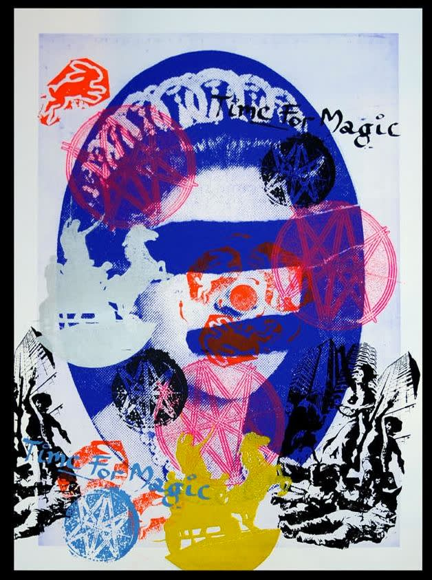 Jamie Reid Liberty (Blue), 2011 Inkjet base print on 310 gsm Hahnemuhle 'German Etching' Paper with acrylic screen print additions. Signed, numbered and titled by the artist. Framed Sheet size 112 x 82.4 cm. Sheet size 44.1 x 32.4 in ed.6/10