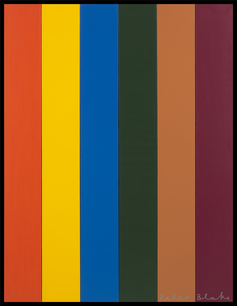 Peter Blake Six Colours, 2019 Paint on wood Signed 124.5 x 96.3 cm