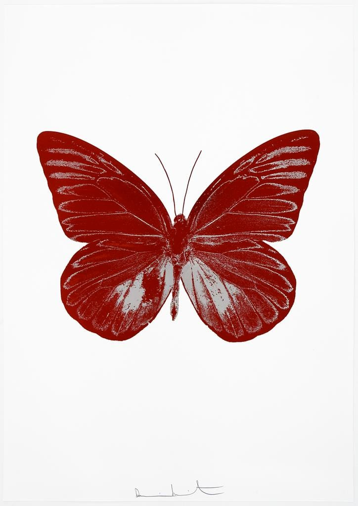 Damien Hirst The Souls I - Chilli Red/Silver Gloss, 2010 2 colour foil block on 300gsm Arches 88 archival paper. Signed and numbered. Published by Paul Stolper and Other Criteria 72 x 51cm OC7781 / 659-44 Edition of 15