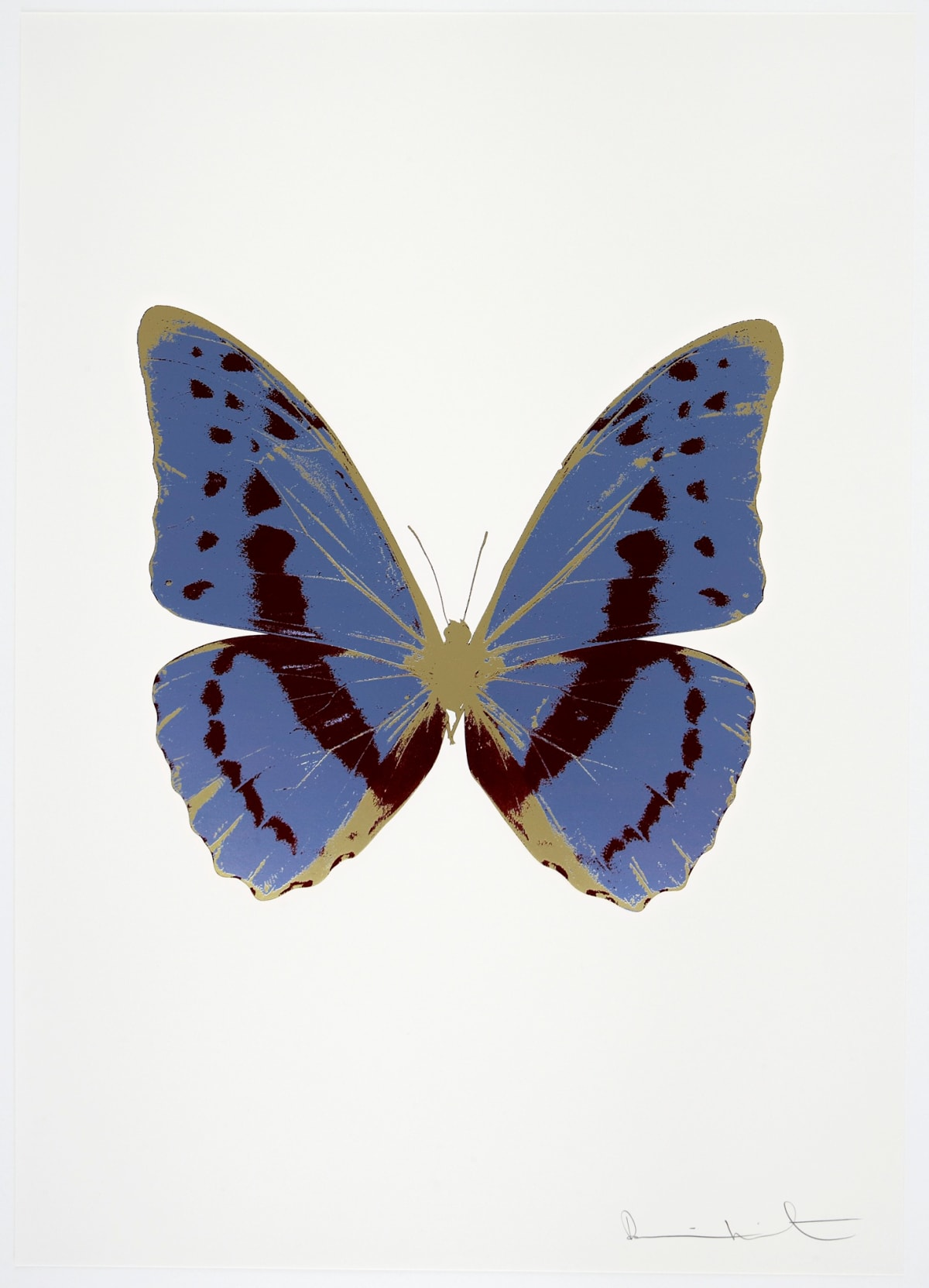 Damien Hirst The Souls III - Cornflower Blue/Burgundy/Cool Gold, 2010 3 colour foil block on 300gsm Arches 88 archival paper. Signed and numbered. Published by Paul Stolper and Other Criteria 72 x 51cm OC7930 / 660-33 Edition of 15