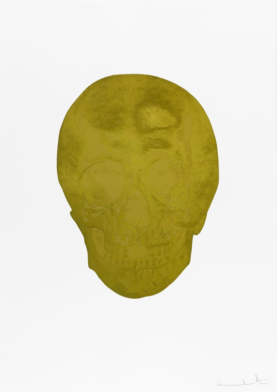 Damien Hirst Death Or Glory Champagne Gold/Hazy Gold Glorious Skull, 2011 2 colour foil block on 300gsm Arches 88 archival paper. Signed and numbered. Published by Paul Stolper and Other Criteria. White aluminium powder coated frame. 72 x 51 cm; Framed 76.8 x 55.8 cm OC8380 Edition of 2