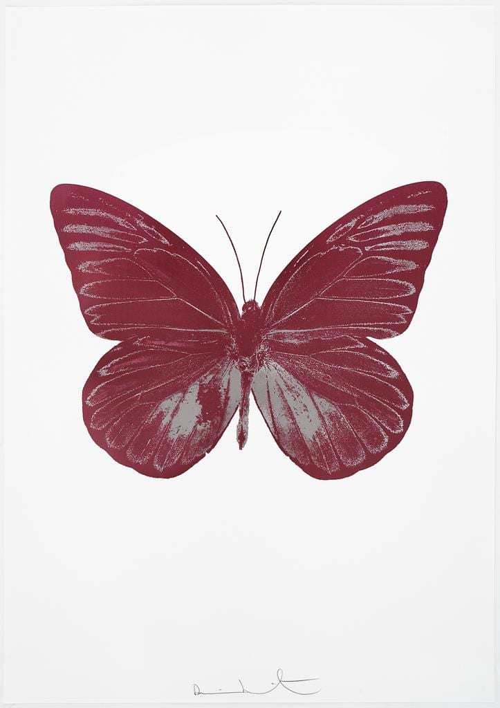 Damien Hirst The Souls I - Loganberry Pink/Silver Gloss, 2010 2 colour foil block on 300gsm Arches 88 archival paper. Signed and numbered. Published by Paul Stolper and Other Criteria 72 x 51cm OC7786 / 659-49 Edition of 15