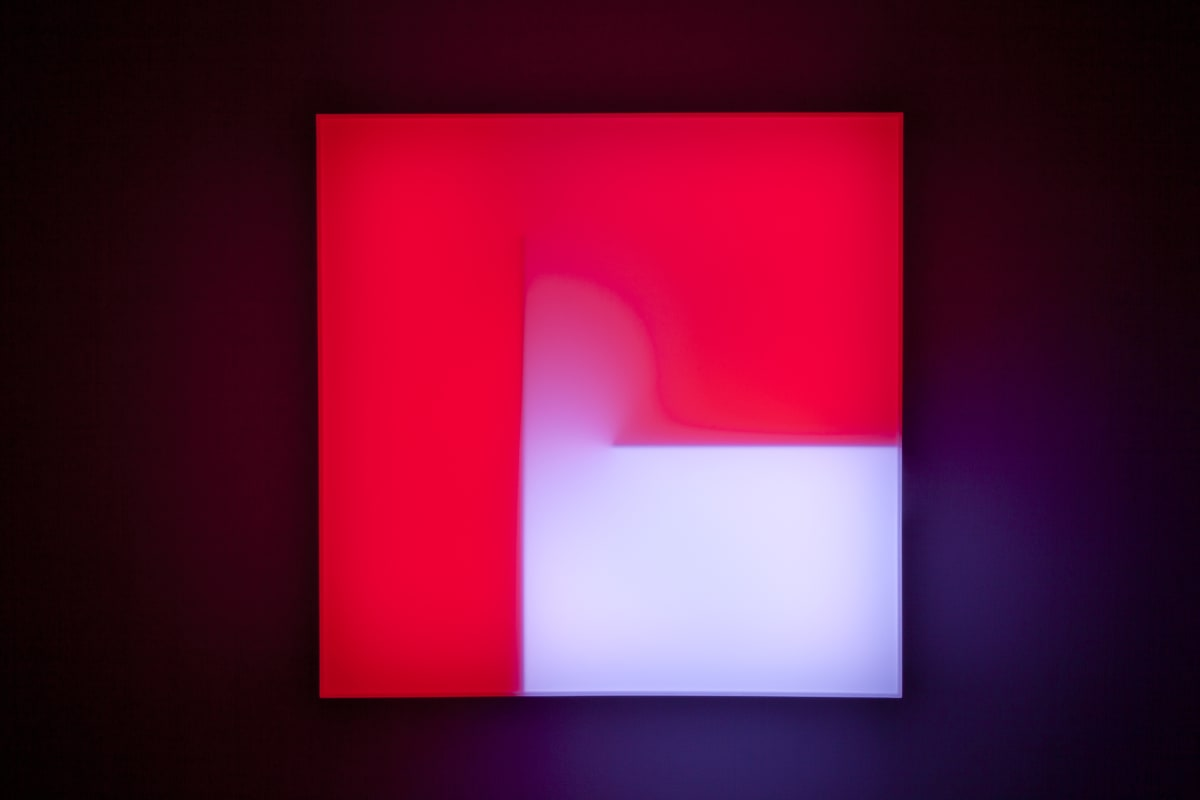 Brian Eno Glass, 2016 Light box: LED lights, perspex, wood, usb stick. Exhibited:Light Music 29.04-28.05.2016 Paul Stolper Gallery, London 65 x 65 x 19 cm