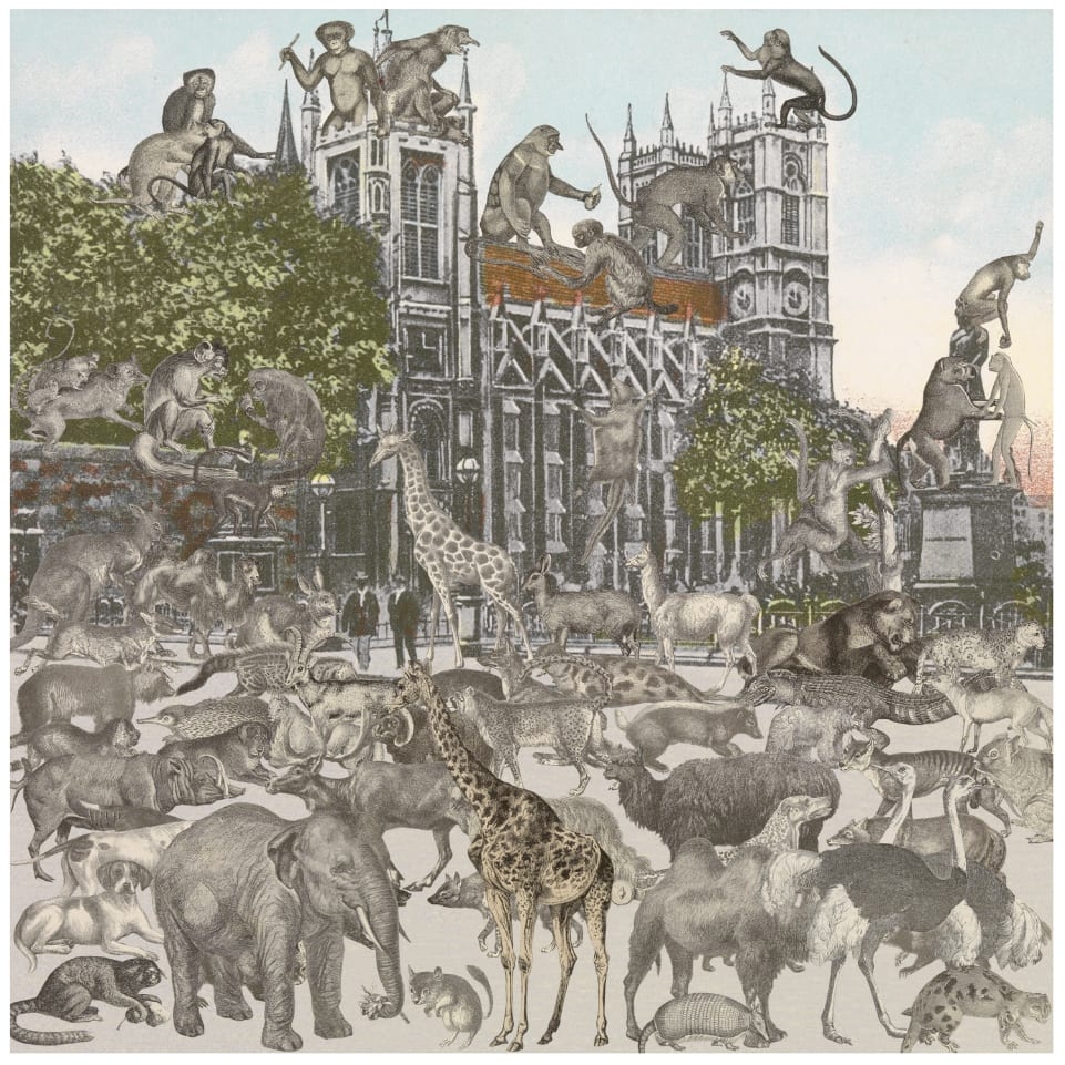 Peter Blake London- Westminster Abbey- Animalia, 2012 Silkscreen print on 410gsm Somerset Tub Sized Signed and numbered by artist. 66.6. x 65.2 cm Edition of 100