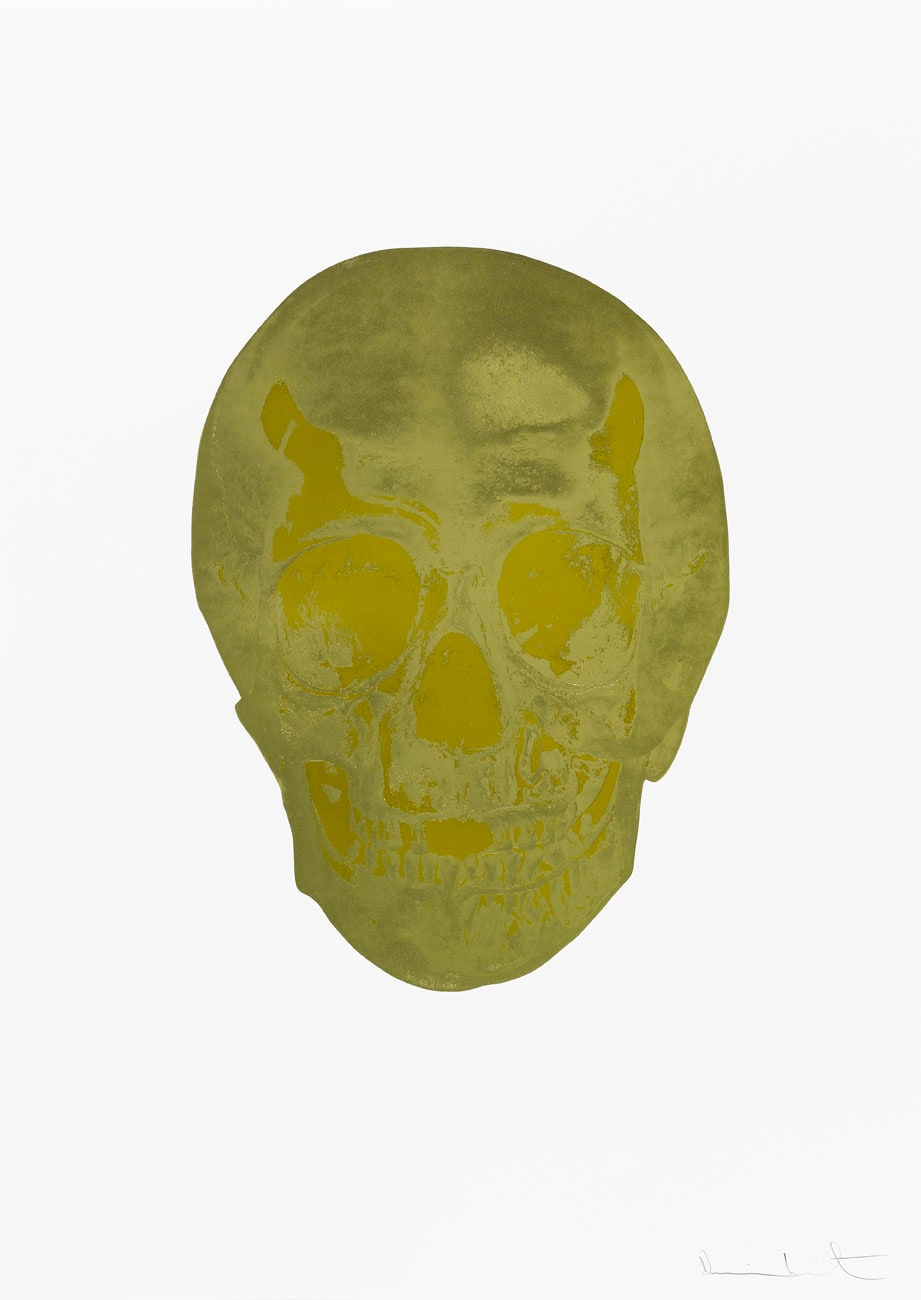 Damien Hirst Death Or Glory Cool Gold/Oriental Gold Glorious Skull, 2011 2 colour foil block on 300gsm Arches 88 archival paper. Signed and numbered. Published by Paul Stolper and Other Criteria. White aluminium powder coated frame. 72 x 51 cm; Framed 76.8 x 55.8 cm OC8368 Edition of 2