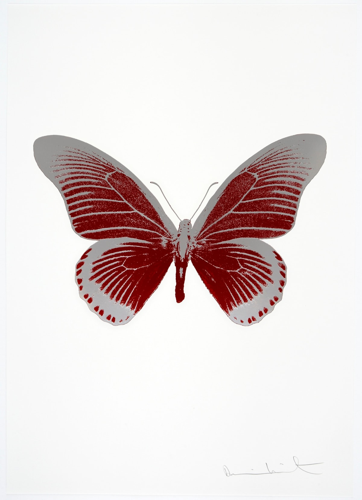 Damien Hirst The Souls IV - Chilli Red/Silver Gloss Damien Hirst butterfly foil print for sale Damien Hirst print for sale , 2010 2 colour foil block on 300gsm Arches 88 archival paper. Signed and numbered. Published by Paul Stolper and Other Criteria 72 x 51cm OC8015 / 1418-38 Edition of 15