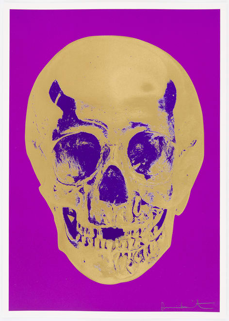 Damien Hirst Long Life Purple African Gold Imperial Purple Skull, 2012 Silkscreen,glaze and foilblock on 410gsm Somerset Satin. Signed an numbered. Published by Paul Stolper and Other Criteria. OC9413 52.2. x 37 cm Edition of 50