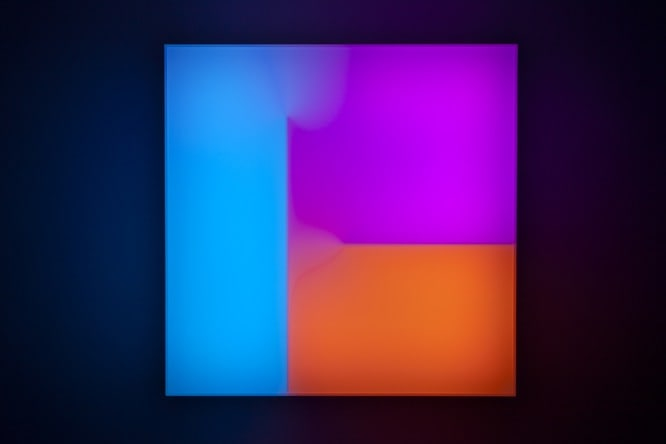 Brian Eno Small Craft, 2016 Light box: LED lights, perspex, wood, usb stick. Exhibited:Light Music 29.04-28.05.2016 Paul Stolper Gallery, London 65 x 65 x 19 cm