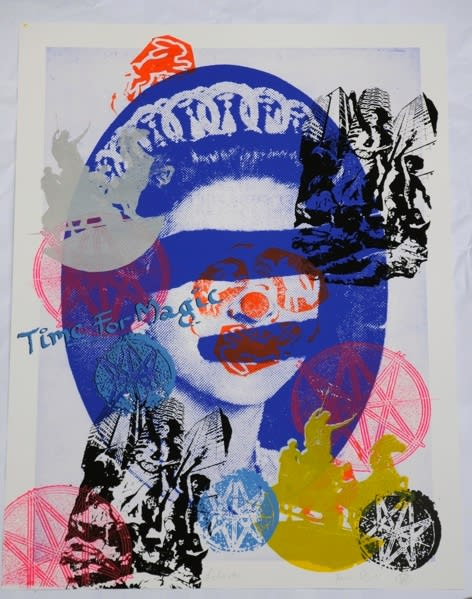 Jamie Reid Liberty (Blue), 2011 Inkjet base print on 310 gsm Hahnemuhle 'German Etching' Paper with acrylic screen print additions. Signed, numbered and titled by the artist. Sheet size 112 x 82.4 cm. Sheet size 44.1 x 32.4 in ed.7/10