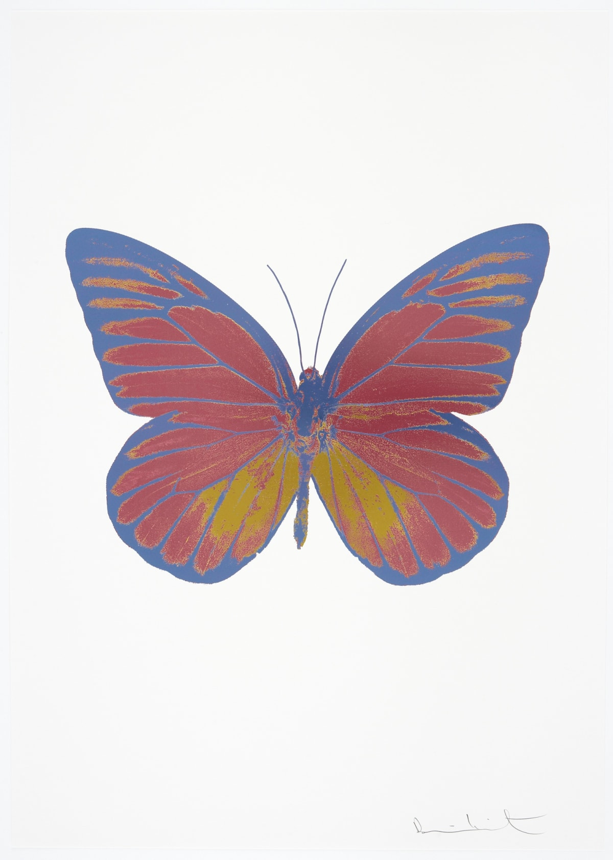 Damien Hirst The Souls I - Loganberry Pink/Oriental Gold/Cornflower Blue, 2010 3 colour foil block on 300gsm Arches 88 archival paper. Signed and numbered. Published by Paul Stolper and Other Criteria 72 x 51cm OC7762 / 659-25 Edition of 15