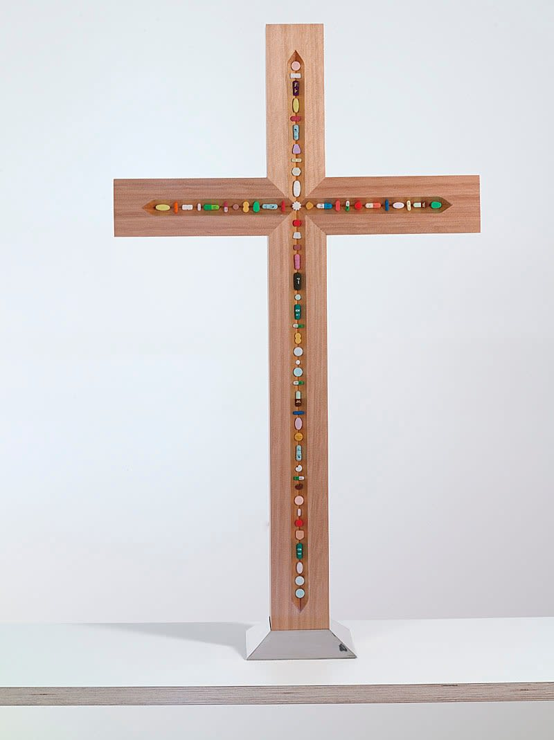 Damien Hirst The Crucifix, 2005 Cedar wood, hand-coloured pewter pills, resin, silver and stainless steel 87 x 50 x 8cm 34.3 x 19.7 x 3.1 Edition of 35 Signed, Numbered and Dated Published by Paul Stolper and Other Criteria. £ POA