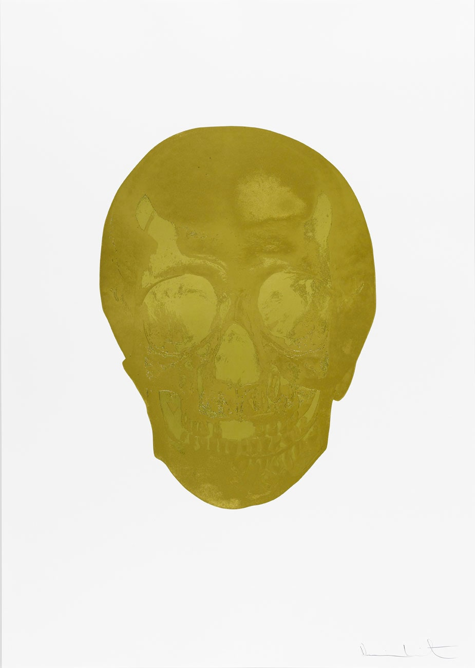 Damien Hirst Death Or Glory Hazy Gold/Sunset Gold Glorious Skull, 2011 2 colour foil block on 300gsm Arches 88 archival paper. Signed and numbered. Published by Paul Stolper and Other Criteria. White aluminium powder coated frame. 72 x 51 cm; Framed 76.8 x 55.8 cm OC8362 Edition of 2