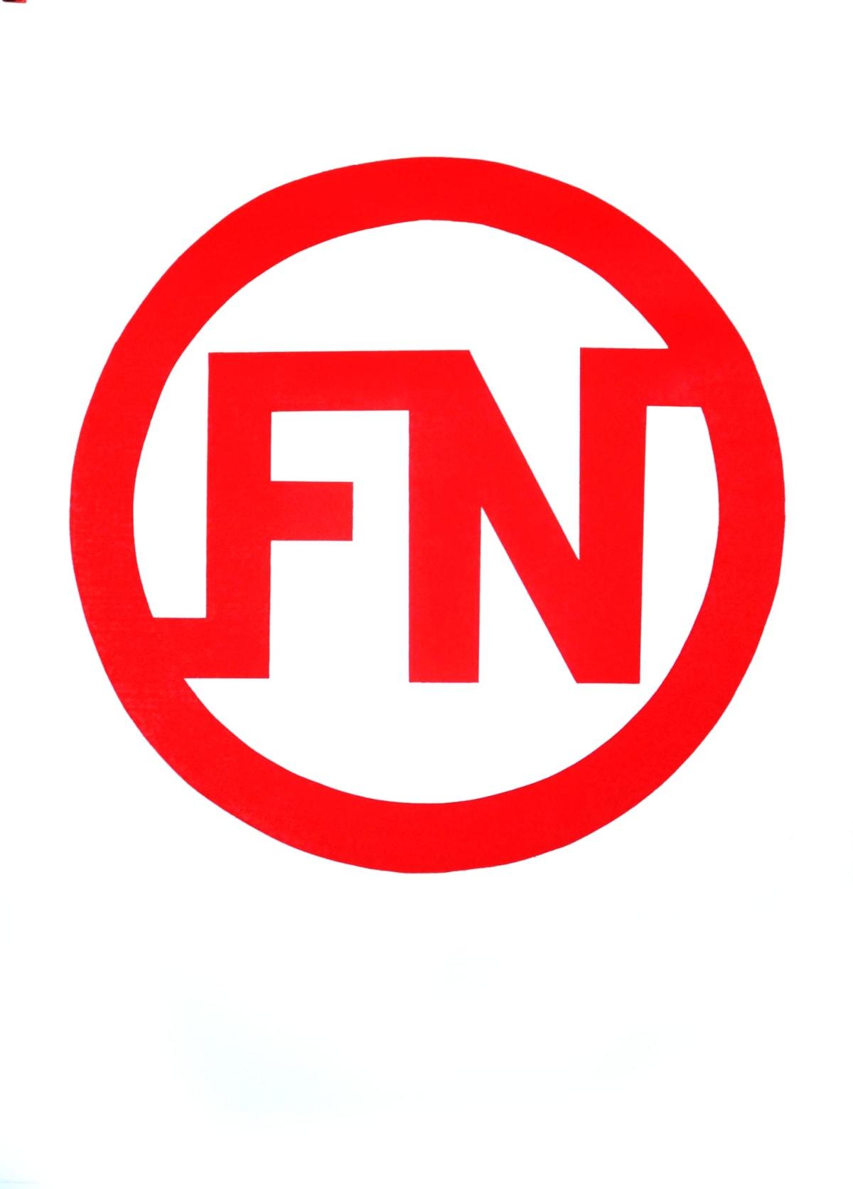 Darren Coffield and Graham Bignell FN Logo, 2013 Letterpress print on Zerkall 145gsm. Edition of 10. Numbered by Darren Coffield with FN logo blind stamp lower right corner. 42 x 59 cm Edition of 10