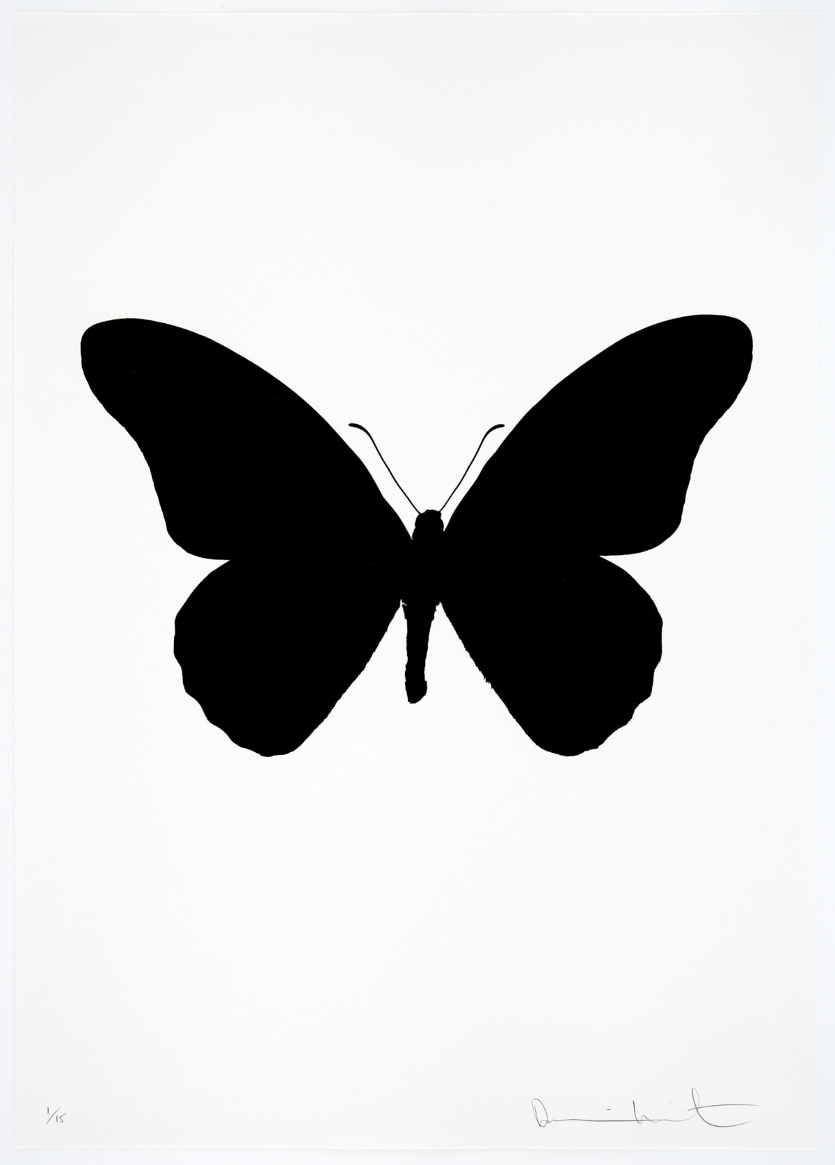 Damien Hirst The Souls IV - Raven Black/Raven Black/Raven Black Damien Hirst butterfly foil print for sale Damien Hirst print for sale , 2010 3 colour foil block on 300gsm Arches 88 archival paper. Signed and numbered. Published by Paul Stolper and Other Criteria 72 x 51cm OC8039 / 1418-62 Edition of 15