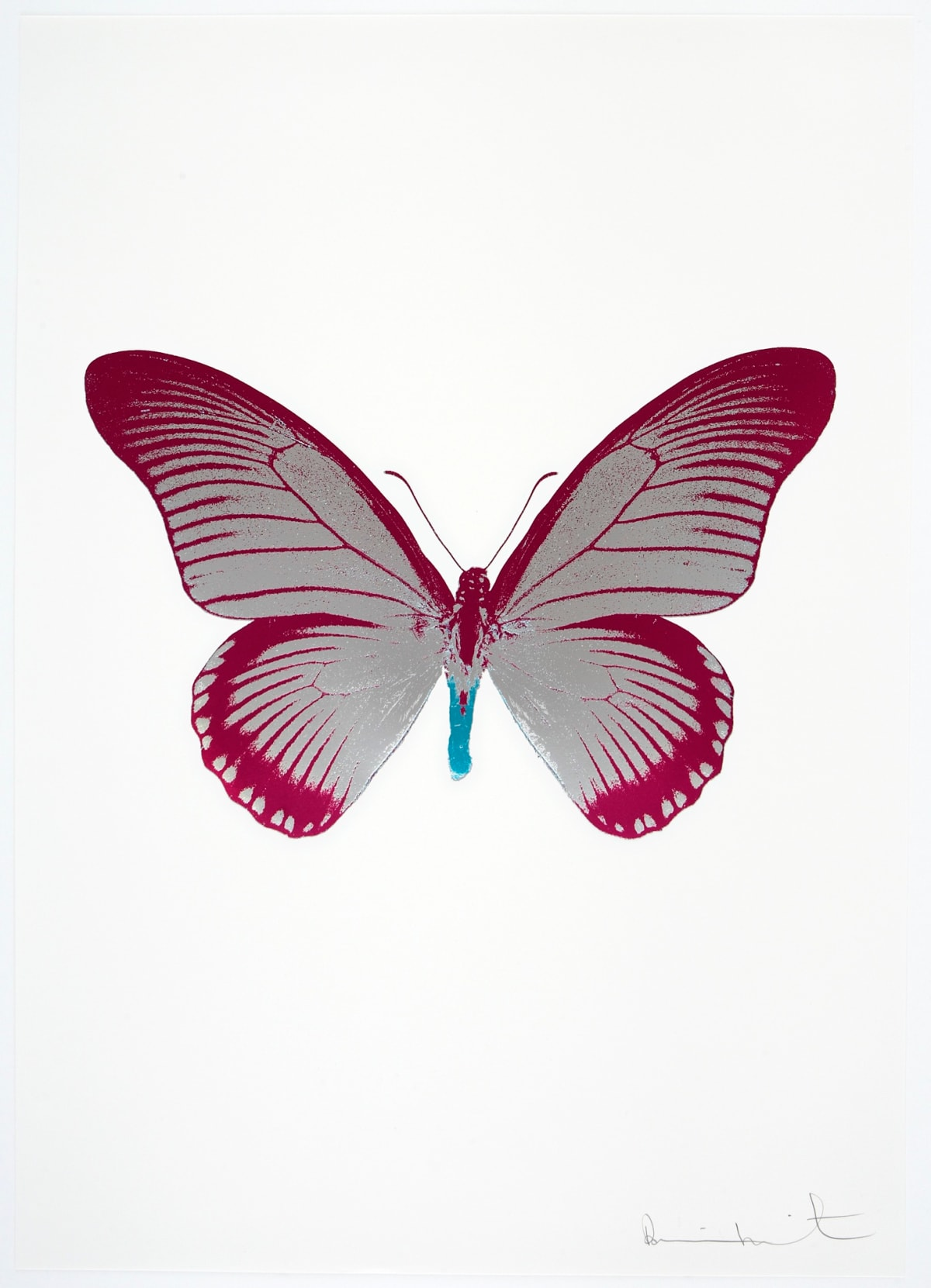 Damien Hirst The Souls IV - Silver Gloss/Fuchsia Pink/Topaz Damien Hirst butterfly foil print for sale Damien Hirst print for sale , 2010 3 colour foil block on 300gsm Arches 88 archival paper. Signed and numbered. Published by Paul Stolper and Other Criteria 72 x 51cm OC8029 / 1418-52 Edition of 15