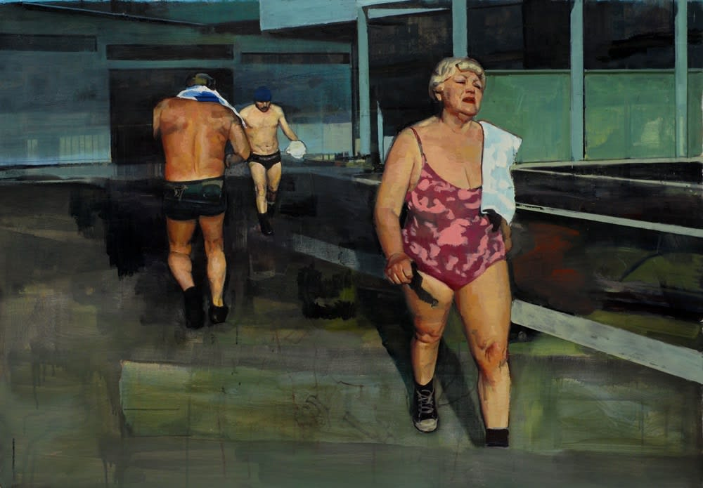 Andrew Hollis Bathers with Buildings, 2011 Oil on linen. Signed and dated by the artist en verso. 90 x 130 cm 35.4 x 51.2 in