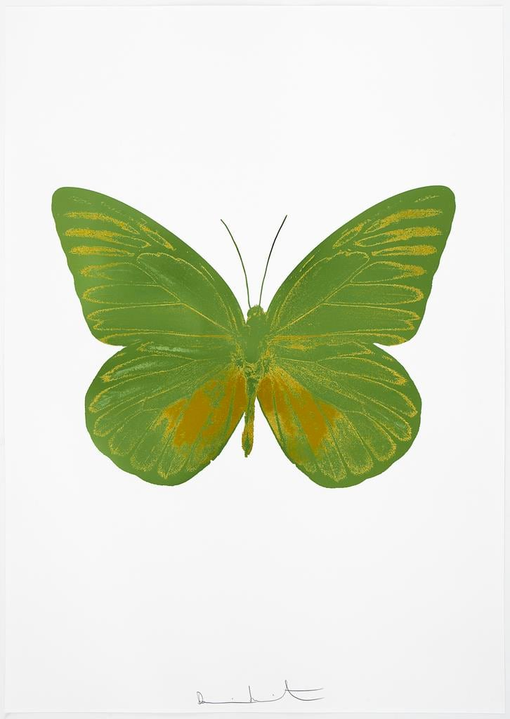 Damien Hirst The Souls I - Leaf Green/Oriental Gold, 2010 2 colour foil block on 300gsm Arches 88 archival paper. Signed and numbered. Published by Paul Stolper and Other Criteria 72 x 51cm OC7803 / 659-66 Edition of 15