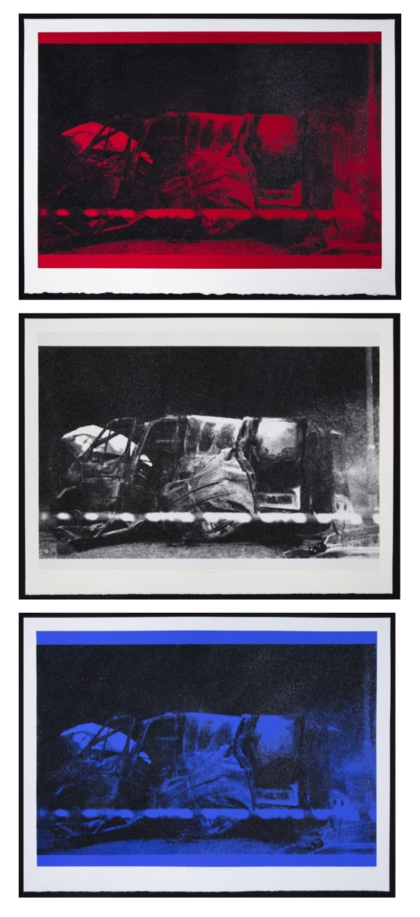 Gavin Turk Diamond Transit Disasters set: Red, White, Blue, 2018 Three silkscreen and diamond dust on 410gsm Somerset Tub sized satin prints. Editions 1-15 available only as a set. Editions 16-30 available individually. Each: 76.5 x 102 cm Edition of 30 Signed, titled, dated and numbered